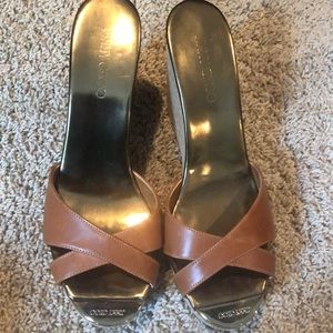 Jimmy Choo brown leather wedges 10